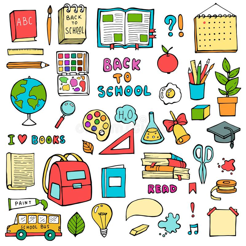 Назад к школе doodles нарисованные рукой установили с значками образования поставек схематичными на белой предпосылке бесплатная иллюстрация