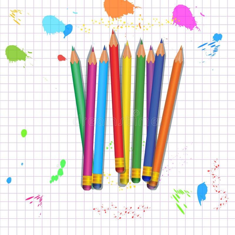 Назад к школьным принадлежностям Установите красочных реалистических карандашей с резиновыми ластиками изолированными на абстракт бесплатная иллюстрация