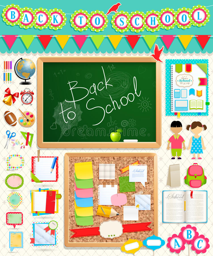 Назад к элементам scrapbook школы. иллюстрация вектора