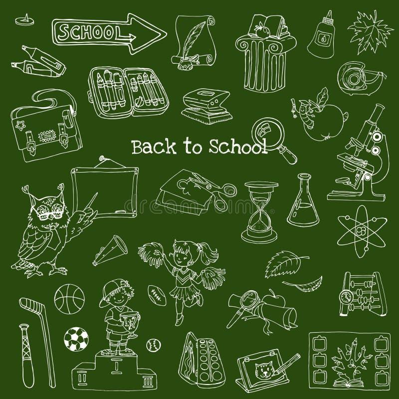 Назад к Doodles школы - нарисованный вручную иллюстрация вектора
