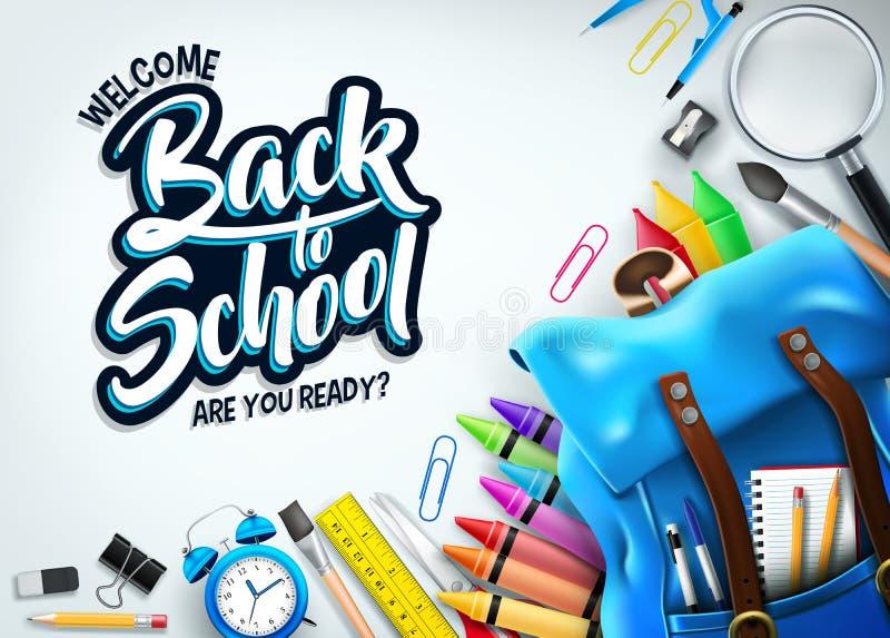 Назад обучить в белом знамени предпосылки с голубыми рюкзаком и школьными принадлежностями иллюстрация вектора