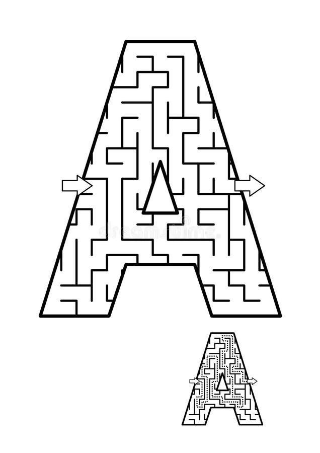 Назад к деятельности при ABC школы - пометьте буквами лабиринт a для детей иллюстрация штока
