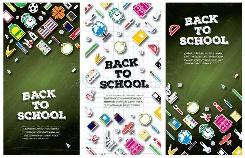 Назад к знамени школы установленному с школьными принадлежностями Illustrat вектора иллюстрация штока