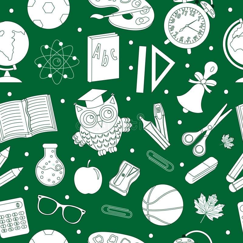 Назад к картине школы безшовной, чертеж руки, стиль doodle Предпосылка канцелярских принадлежностей бесконечная Линия повторять о иллюстрация штока