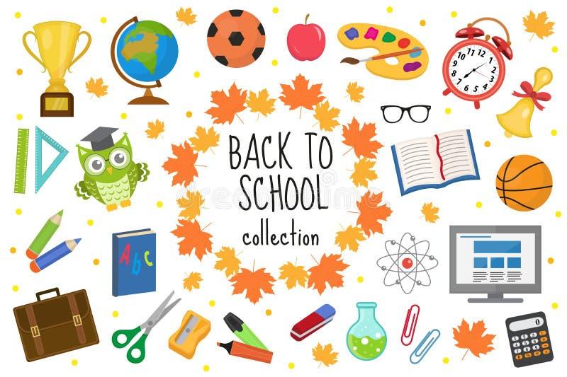 Назад к комплекту значка школы, плоскому, стилю шаржа Собрание образования элементов дизайна с канцелярскими принадлежностями, ка бесплатная иллюстрация