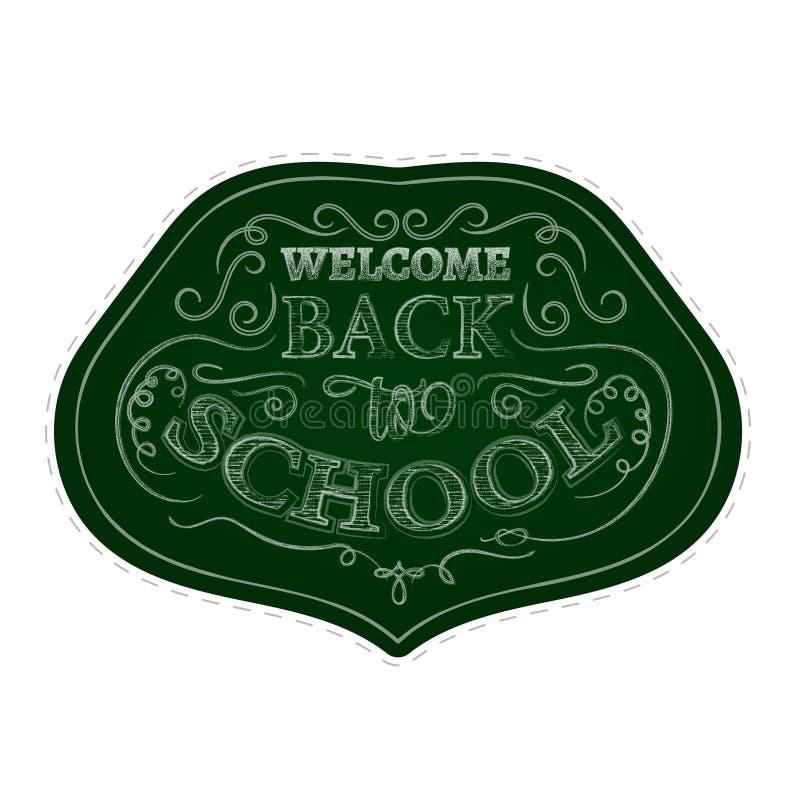 Назад к комплекту стикера значков школы Белая печать мела на зеленой предпосылке бесплатная иллюстрация