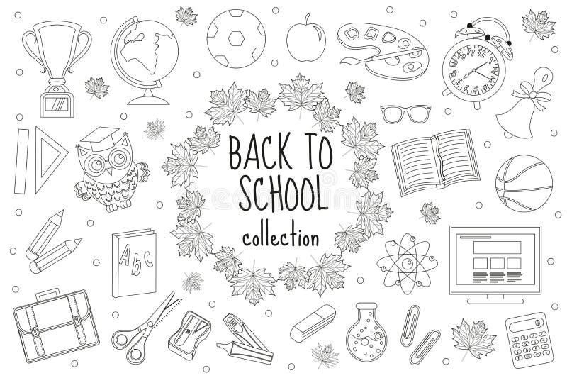 Назад к комплекту школы значков, линия стиль Собрание элементов дизайна doodle, план образования Страница расцветки для иллюстрация штока