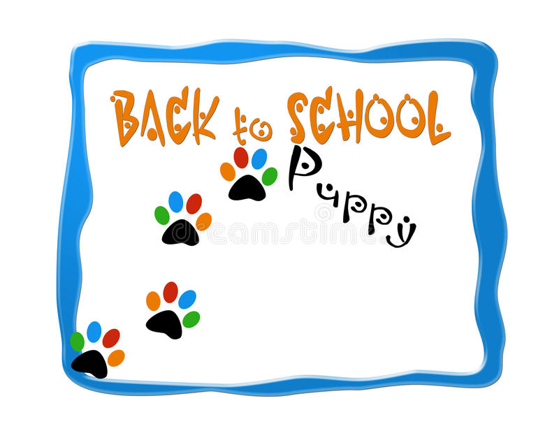 Назад к логотипу дизайна изображения школы щенка бесплатная иллюстрация