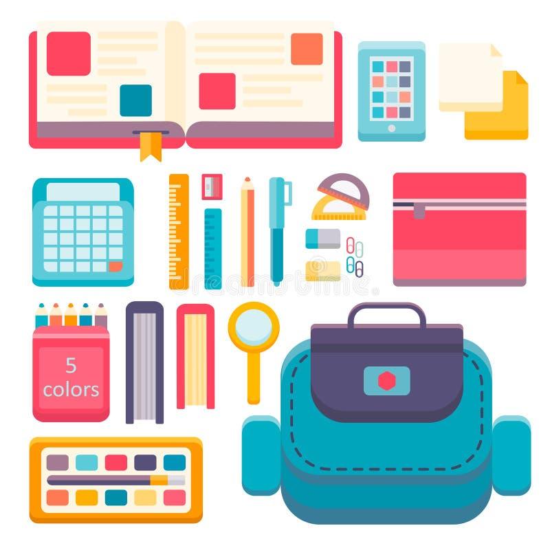 Назад к предпосылке иллюстрации вектора плоского дизайна школы современной с комплектом значка образования иллюстрация вектора