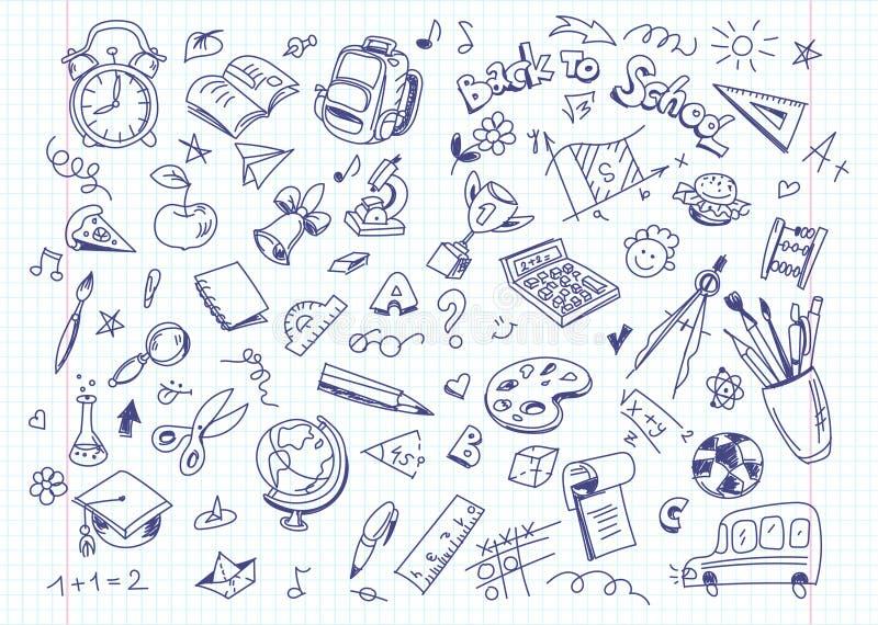 Назад к предпосылке чертежа школы на бумаге книги экземпляра бесплатная иллюстрация