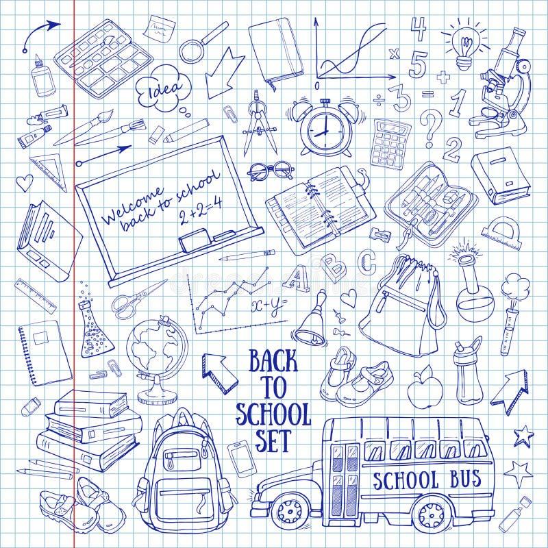 Назад к школе нарисованные вручную doodles установили в тетрадь иллюстрация вектора
