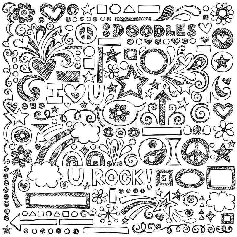 Назад к школе схематичная тетрадь Doodles больноой вектора бесплатная иллюстрация