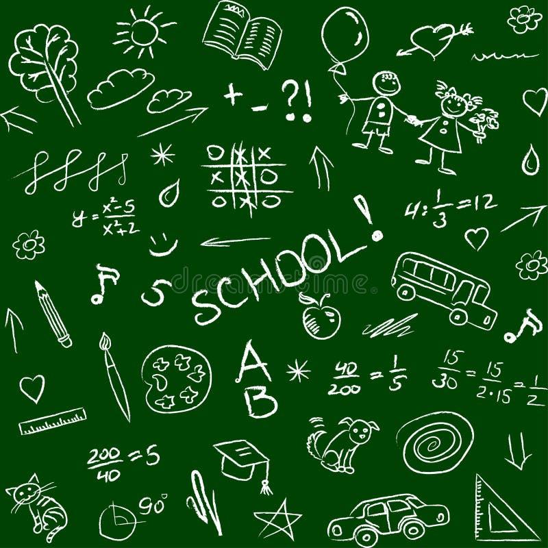 Назад к школе doodles на классн классном, безшовной картине Вектор i бесплатная иллюстрация