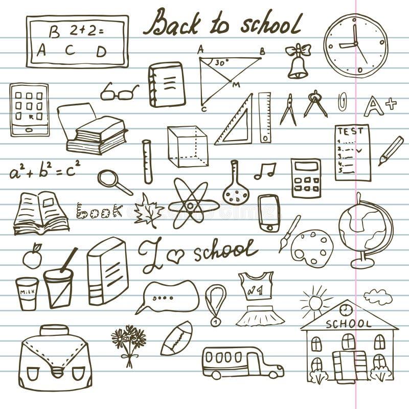 Назад к Doodles тетради школьных принадлежностей схематичным установленным с литерностью, нарисованный вручную дизайн иллюстрации иллюстрация штока