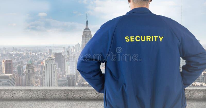 Назад охранника против расплывчатого горизонта стоковое изображение