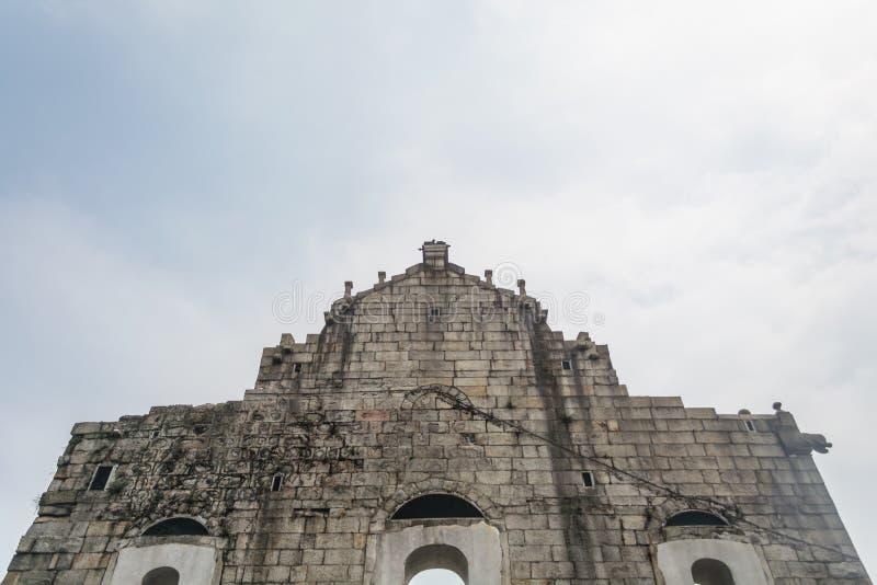 Назад руин ` s St Paul, самая известная туристическая достопримечательность внутри стоковая фотография
