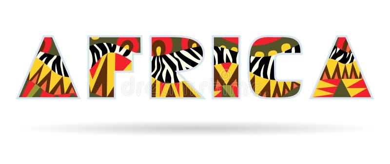 Название Африки богато украшенное иллюстрация штока