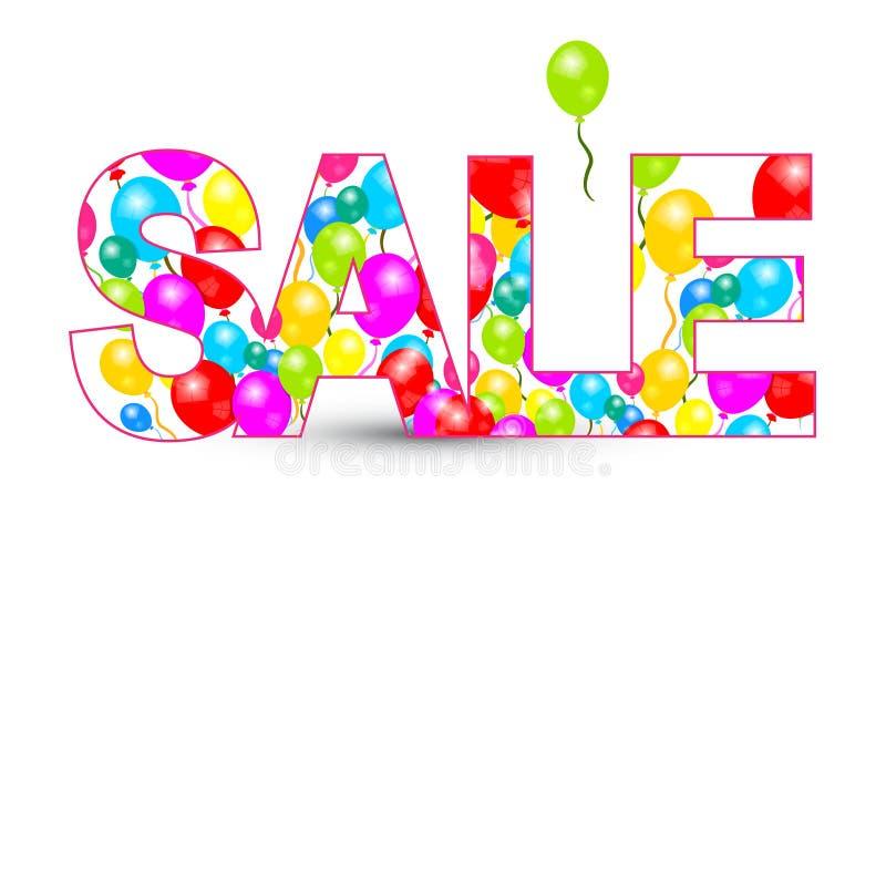 Название продажи с красочными воздушными шарами иллюстрация штока