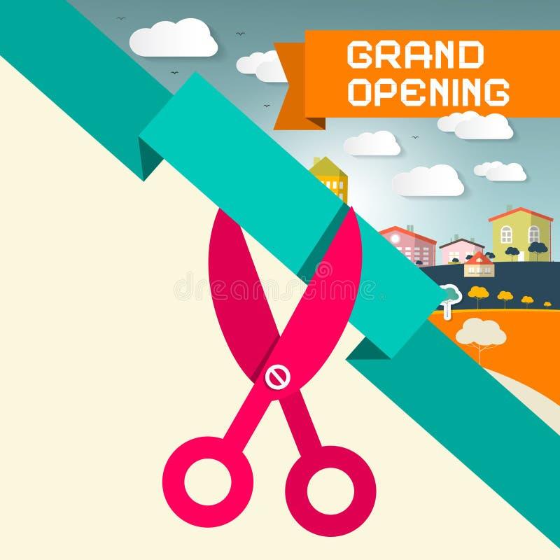 Название торжественного открытия с ножницами иллюстрация штока
