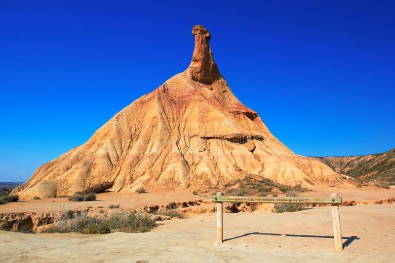 Наземный ориентир пустыни Bardenas Reales стоковые изображения rf