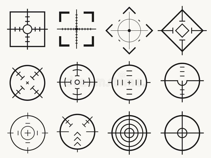 Назначение целей Метка яблочка курсора фокуса всхода снайпера цели, вектор иллюстрация вектора