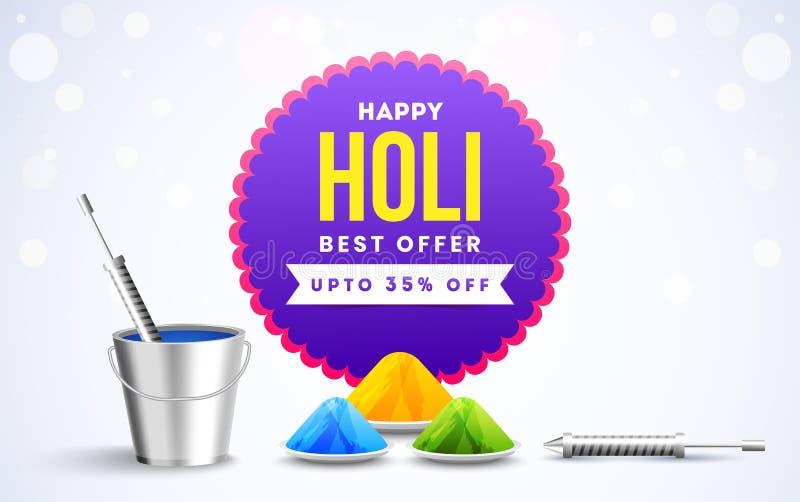 Наилучшее предложение Holi со скидкой плоско 35% на белой предпосылке bokeh бесплатная иллюстрация
