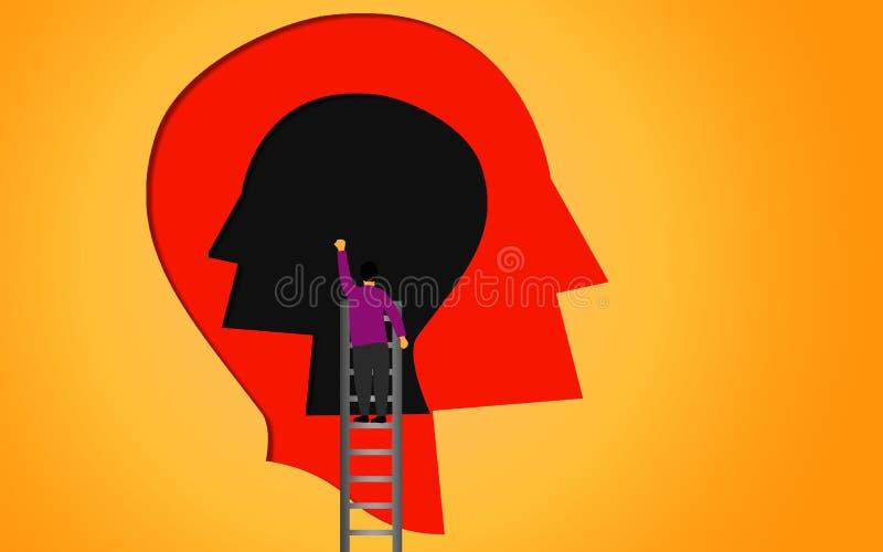 Найдите внутреннее с человеческой головой бесплатная иллюстрация