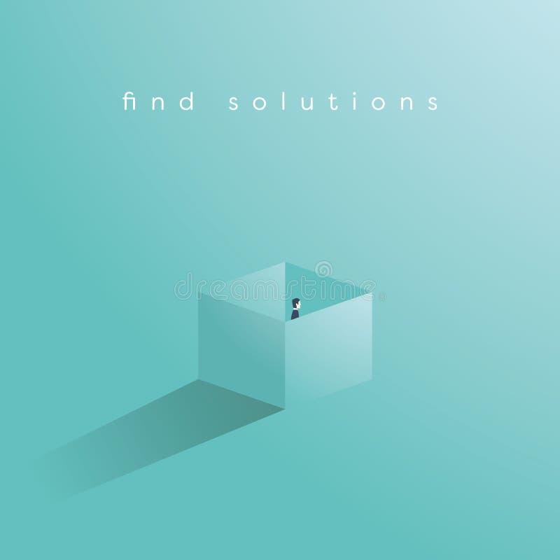 Найдите концепция вектора дела решения при бизнесмен стоя в коробке бесплатная иллюстрация
