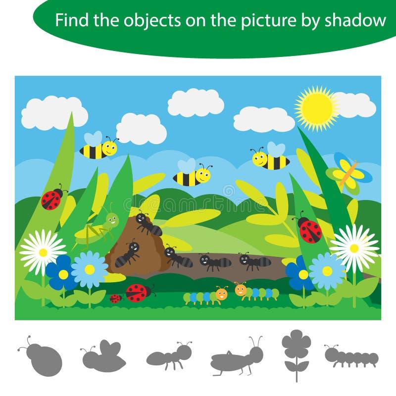 Найдите объекты тенью, игрой с насекомыми для детей в стиле мультфильма, игрой для детей, preschool деятельностью при образования иллюстрация штока