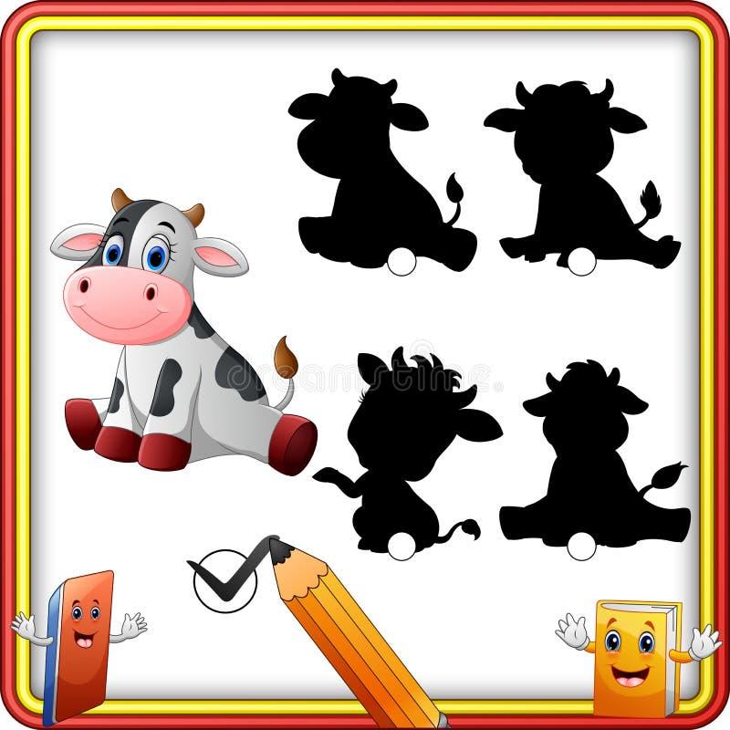 Найдите правильная тень Милое усаживание коровы младенца Игра образования для детей иллюстрация вектора