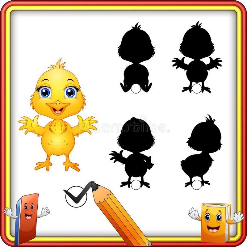 Найдите правильная тень Милый развевать цыпленка младенца Игра образования для детей бесплатная иллюстрация