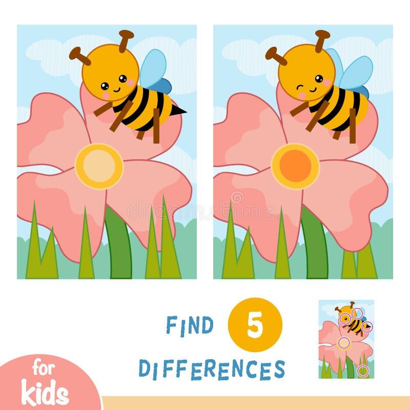 Найдите разницы, игра образования, луг цветка Пчела на цветке бесплатная иллюстрация