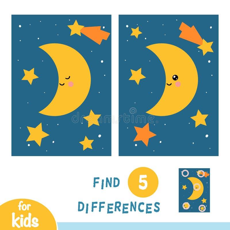 Найдите разницы, игра образования, луна и ночное небо звезд бесплатная иллюстрация