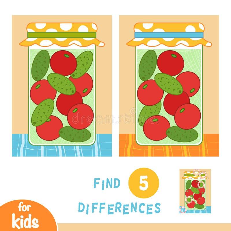 Найдите разницы, игра образования, опарник солениь иллюстрация вектора