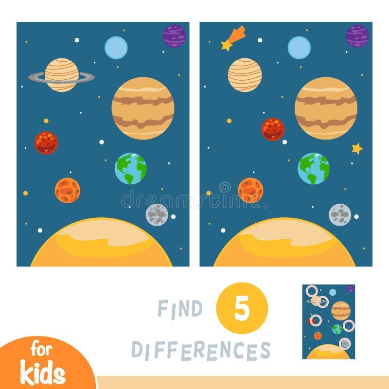 Найдите разницы, игра образования, планеты солнечной системы иллюстрация вектора