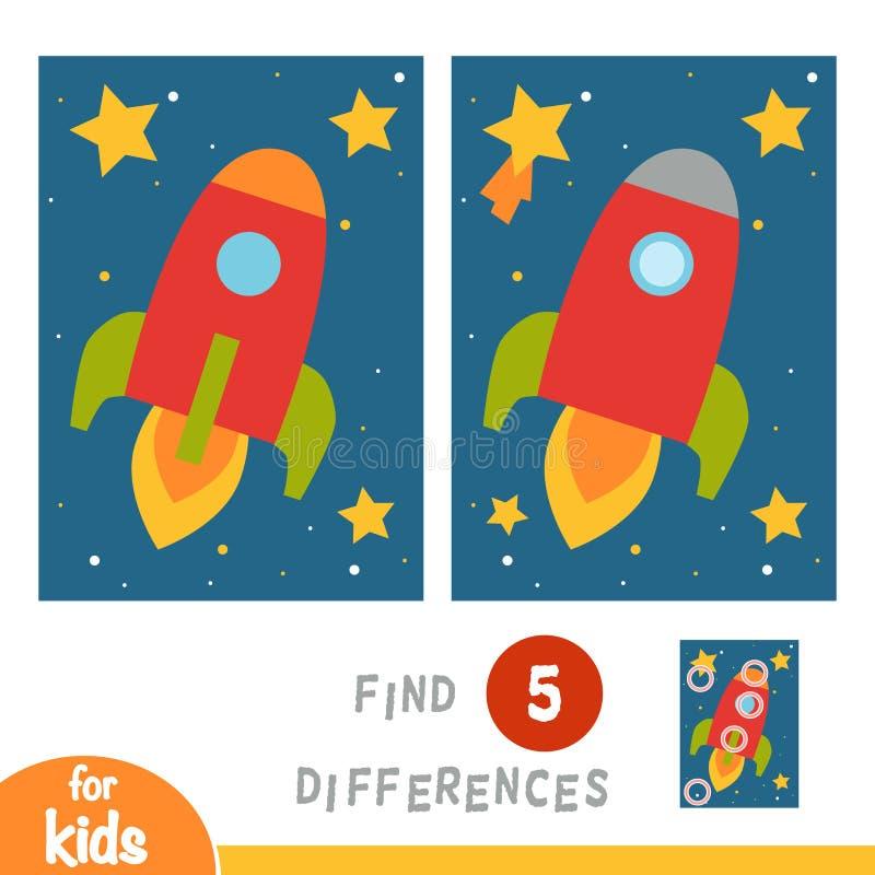 Найдите разницы, игра образования, Ракета в космосе иллюстрация вектора