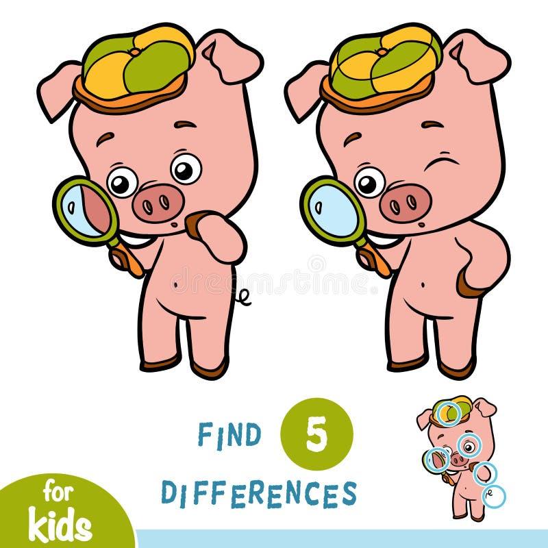 Найдите разницы, игра образования, свинья и увеличитель иллюстрация вектора