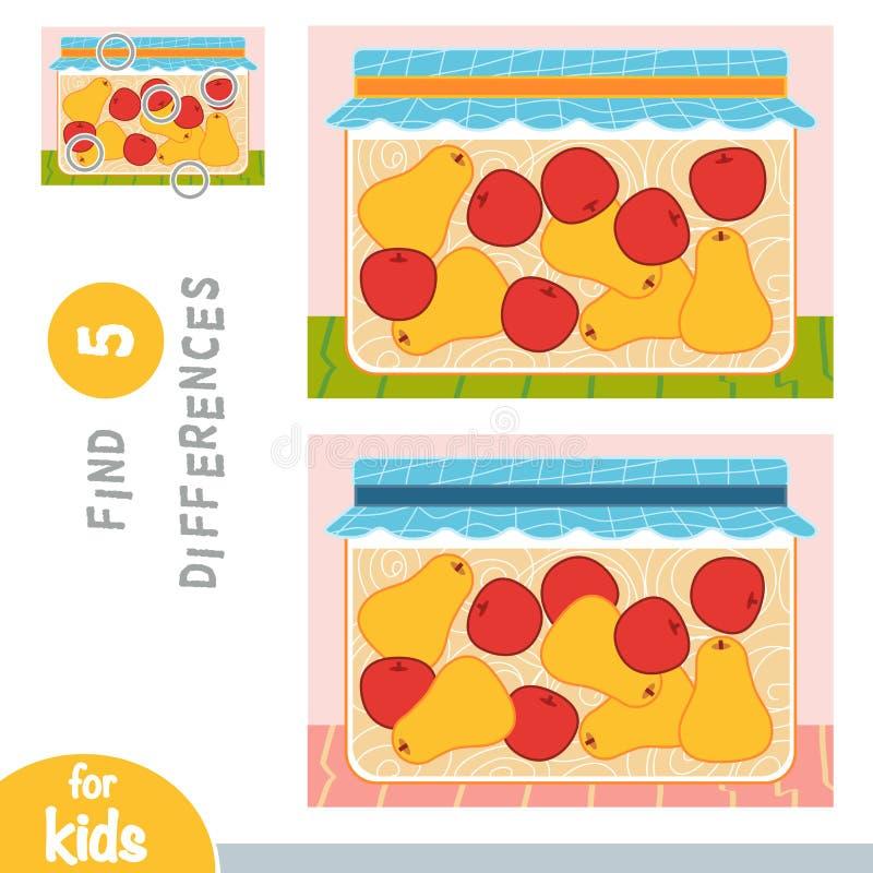 Найдите разницы, игра образования, яблоки и груши в опарнике иллюстрация вектора