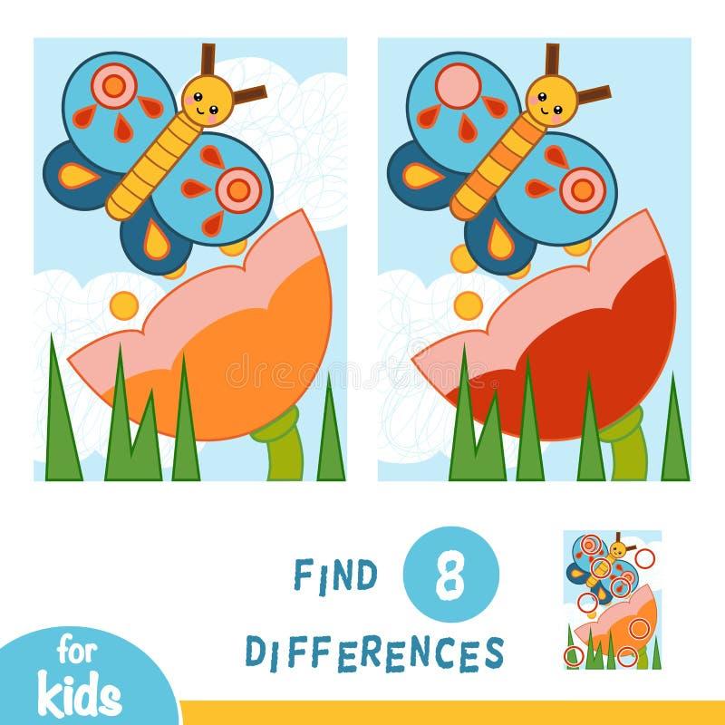 Найдите разницы, игра образования Луг цветка Бабочка и цветок иллюстрация штока