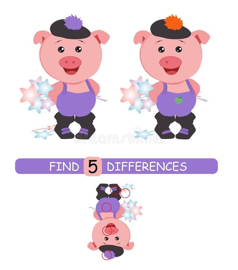 Найдите разницы между изображениями Игра мультфильма вектора воспитательная Милая свинья в шляпе бесплатная иллюстрация