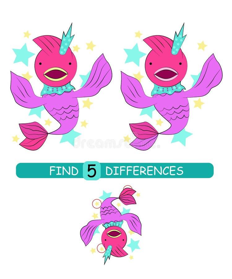 Найдите разницы между изображениями Игра мультфильма вектора воспитательная Милые рыбы со звездами бесплатная иллюстрация