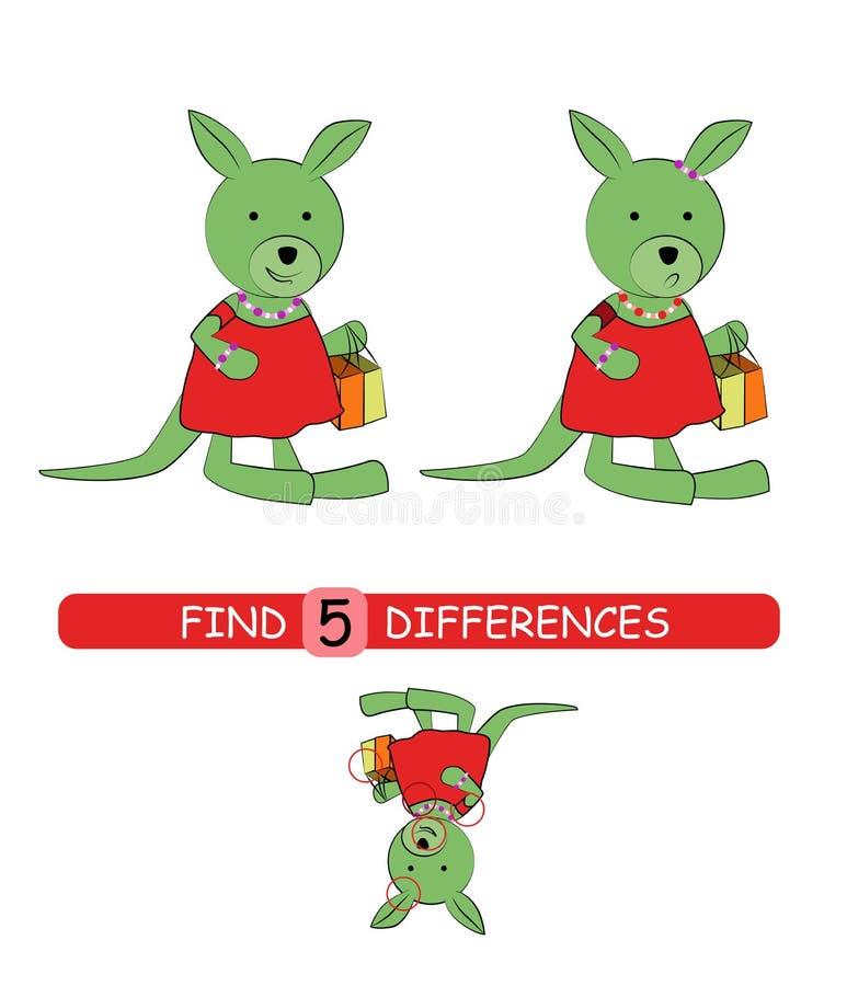 Найдите разницы между изображениями Игра мультфильма вектора воспитательная Милый кенгуру иллюстрация штока
