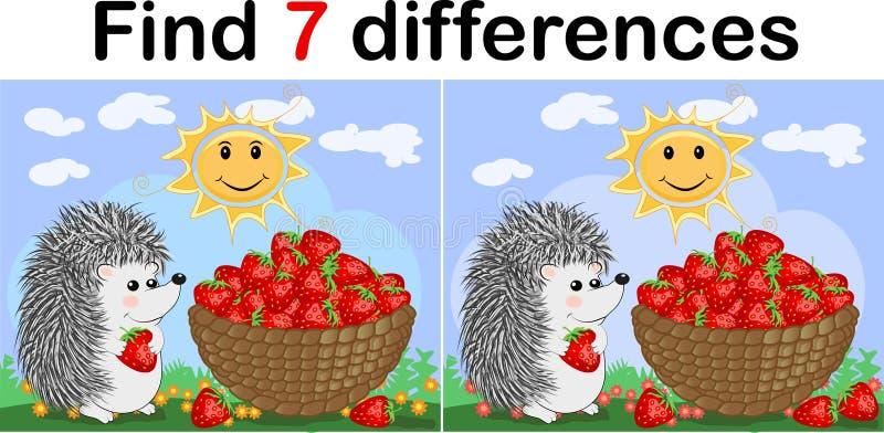 Найдите разницы между изображениями Игра ` s детей воспитательная Еж, клубника иллюстрация штока