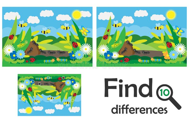 Найдите 10 разниц, игра для детей, насекомых в стиле мультфильма, игре для детей, preschool деятельности при образования рабочего иллюстрация вектора