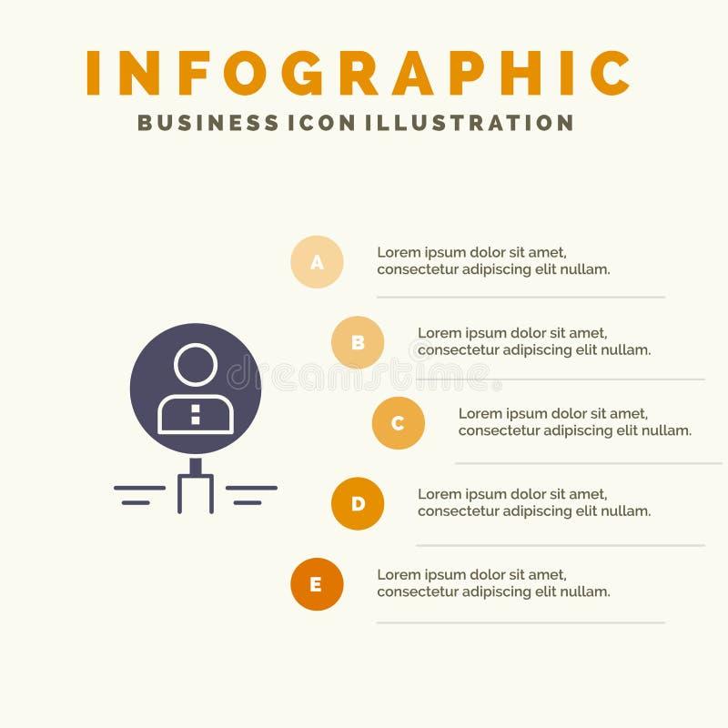 Найдите, стеклянный, нанимать, человеческий, увеличитель, люди, ресурс, предпосылка представления шагов Infographics 5 значка пои иллюстрация штока