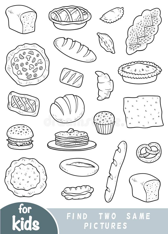 Найдите 2 такие же изображения, игра для детей Комплект продуктов хлебопекарни иллюстрация вектора