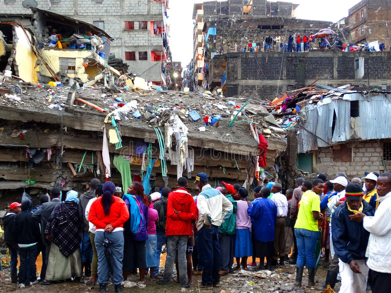Найроби-Кения, обрушенный строить стоковая фотография