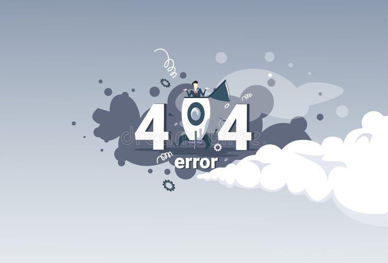 Найденное знамя концепции проблемы интернет-связи сообщения об ошибках 404 иллюстрация штока