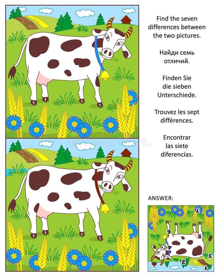 Найдите головоломка изображения разниц с коровой молока иллюстрация штока