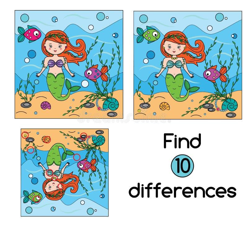 Найдите игра детей разниц воспитательная Ягнит лист деятельности иллюстрация вектора